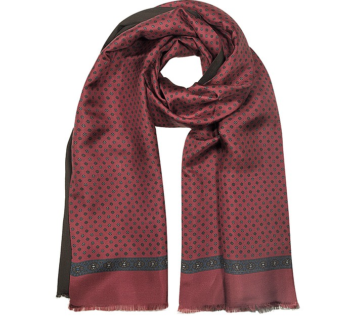 Modal & Silk Floral Print Men's Fringed Scarf - Forzieri