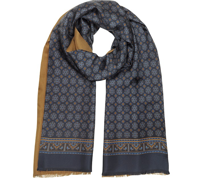 Two Tone Modal and Printed Silk Men's Scarf - Forzieri