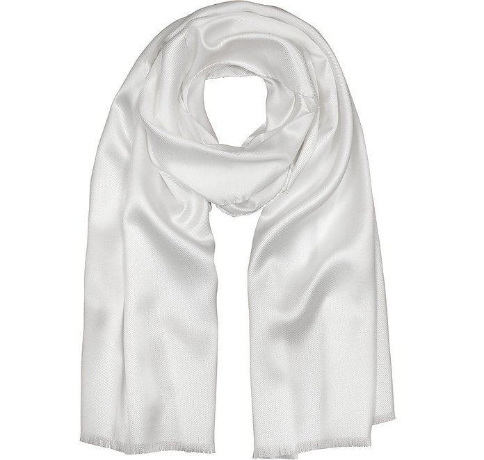 Pure White Silk Men's Long Scarf - Forzieri / フォルツィエリ