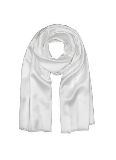 Pure White Silk Men's Long Scarf - Forzieri