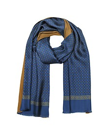 Micro Floral Print Blue Silk and Camel Modal Reversible Men's Scarf - Forzieri