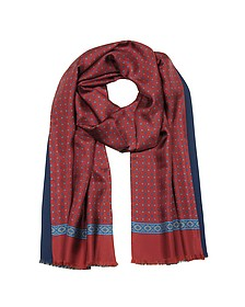 Micro Floral Print Burgundy Silk and Dark Blue Modal Reversible Men's Scarf - Forzieri