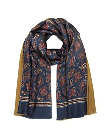 Maxi Paisley Print Blue Silk and Camel Modal Reversible Men's Scarf - Forzieri