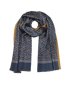 Micro Paisley Print Blue Silk and Camel Modal Reversible Men's Scarf - Forzieri 福喜利