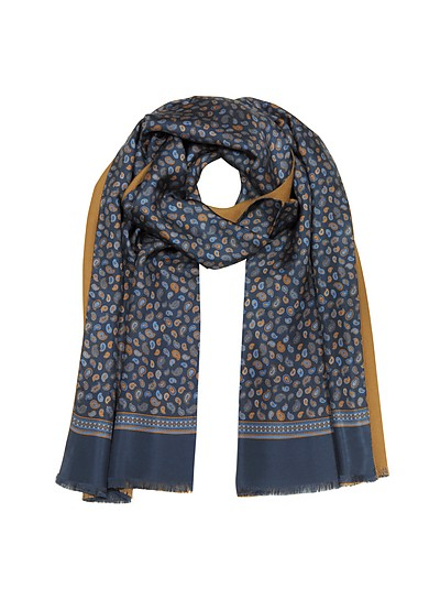 Micro Paisley Print Blue Silk and Camel Modal Reversible Men's Scarf - Forzieri