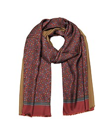 Micro Paisley Print Burgundy Silk and Camel Modal Reversible Men's Scarf - Forzieri