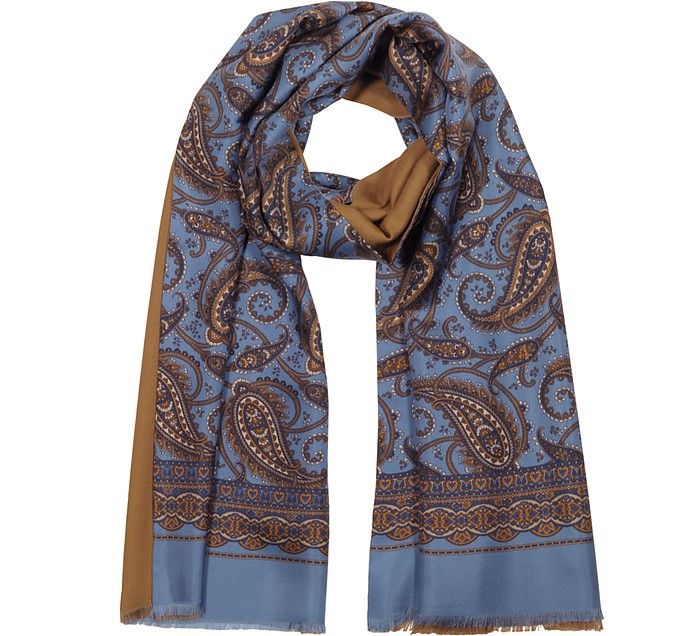 Modal & Silk Oversized Paisley Print Men's Fringed Scarf - Forzieri
