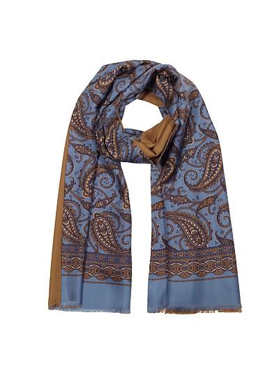 Modal & Silk Oversized Paisley Print Men's Fringed Scarf - Forzieri