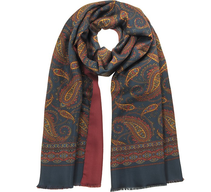 Pure Silk Oversized Paisley Print Men's Fringed Scarf - Forzieri