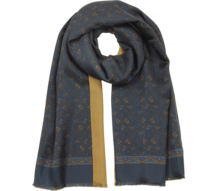 Pure Silk Micro Paisley Print Men's Fringed Scarf - Forzieri