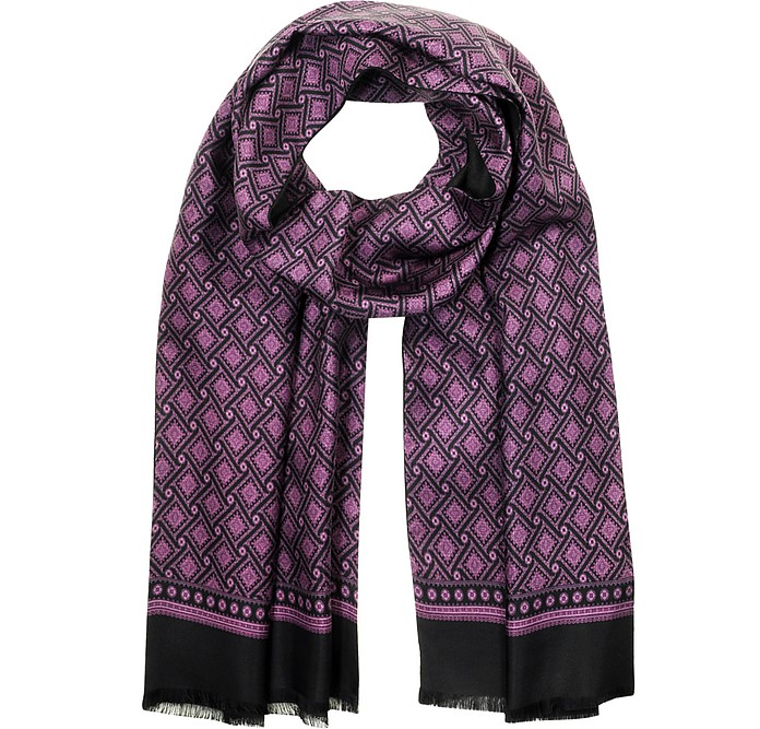 Modal and Printed Silk Men's Scarf - Forzieri