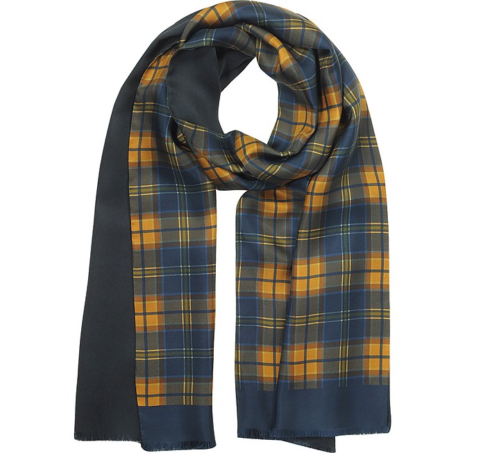 Checked Print Silk & Modal Men's Scarf - Forzieri