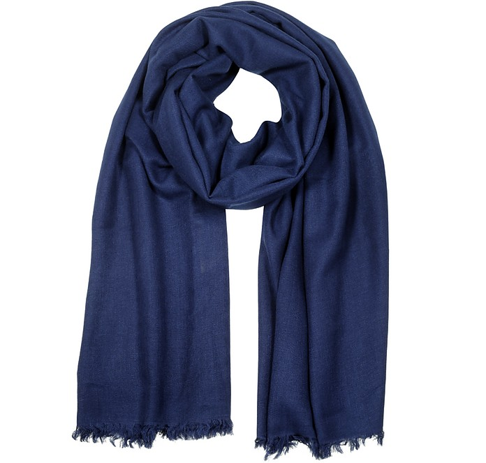 Midnight Blue Pashmina and Silk Shawl w/Short Fringes - Forzieri