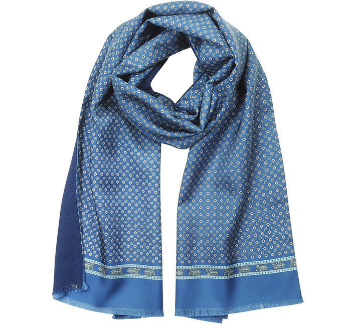 Blue Printed Silk and Solid Wool Men's Scarf - Forzieri / フォルツィエリ