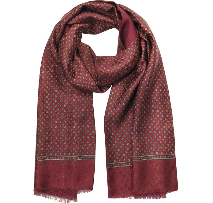 Burgundy Printed Silk and Wool Men's Double Scarf - Forzieri