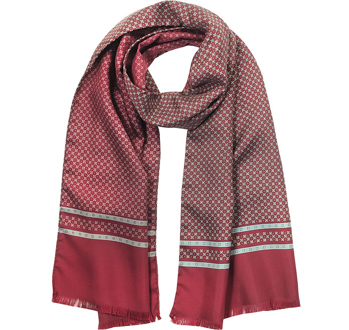 Burgundy Printed Silk Men's Scarf - Forzieri