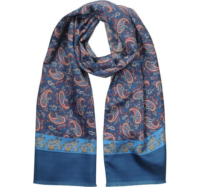 Blue Paisley Printed Silk Men's Scarf - Forzieri