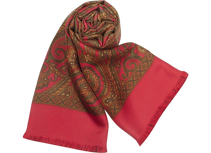 Paisley Print Wool and Silk Reversible Men's Scarf - Forzieri