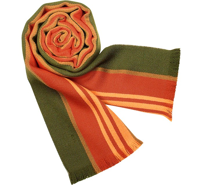 Pure Wool Multi-stripe Long Scarf - Forzieri