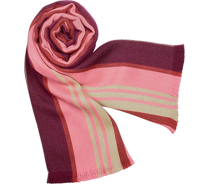 Pure Wool Multi-stripe Long Scarf - Forzieri