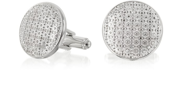 Evergreen - Round Flower Print Cufflinks - Forzieri