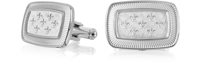 Evergreen - Fleur-de-Lis Rectangular Cufflinks - Forzieri