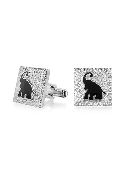 Fashion Garden - Black Elephant Square Cufflinks - Forzieri