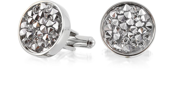 Lumiere Crystal and Brass Round Cufflinks - Forzieri