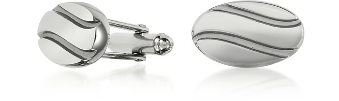Silver Plated Stripes Cuff Links - Forzieri