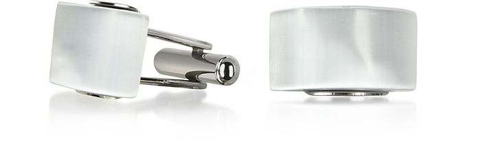 Cat's eye - White/Pearl Stone Curved Cufflinks - Forzieri