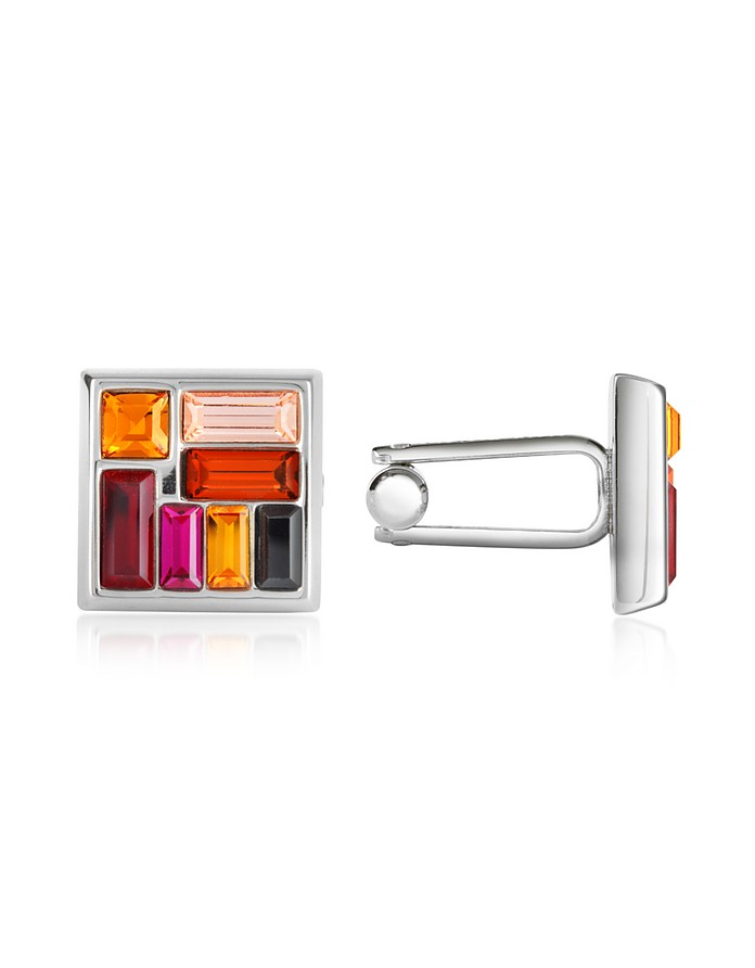 Multicolor Crystal Silver Plated Cufflinks - Forzieri