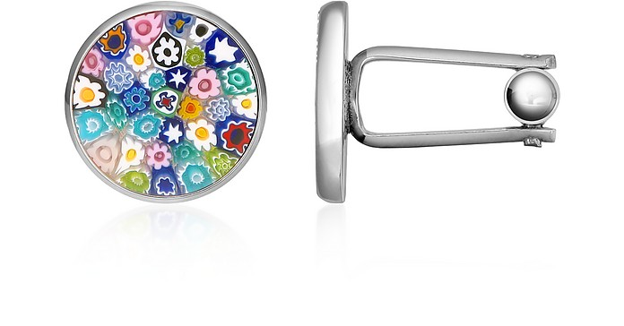 Millefiori Murano Glass Silver Plated Cuff links - Forzieri