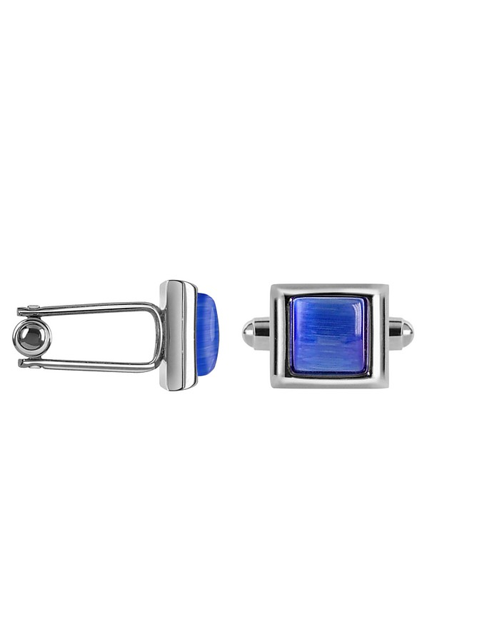 Cat's eye - Blue Silver Plated Cuff links - Forzieri