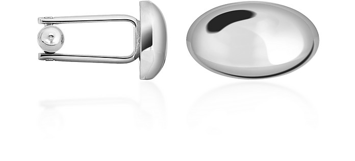 Oval Silver Plated Classic Cufflinks - Forzieri