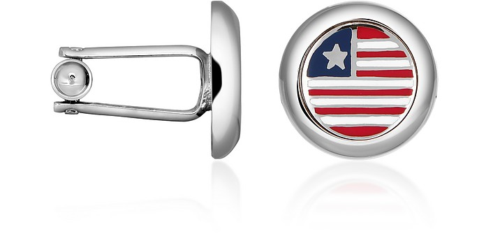 Stars & Stripes US Flag Silver Plated Round Cuff links - Forzieri