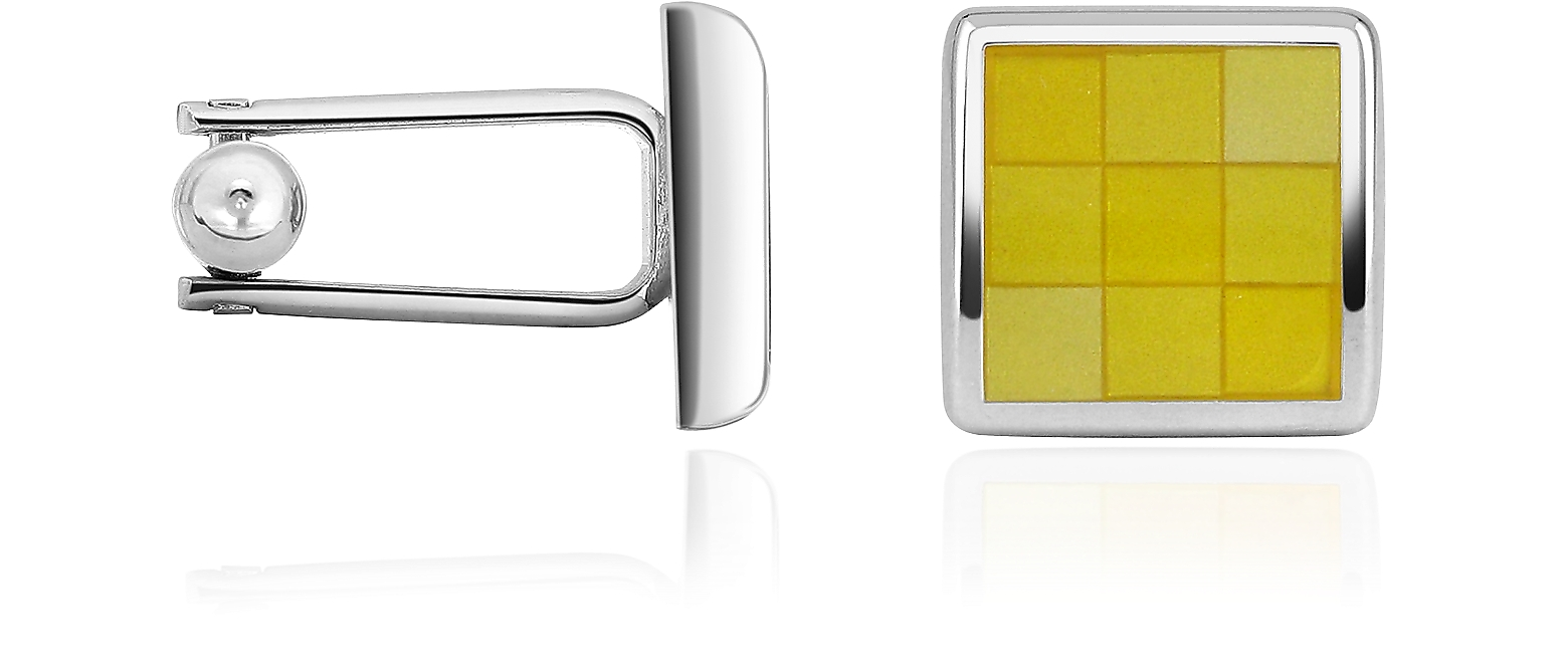 Enamel Checked Silver Plated Square Cuff Links