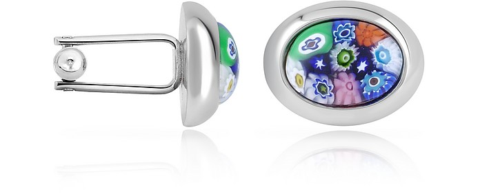 Millefiori Murano Glass Oval Cuff Links - Forzieri