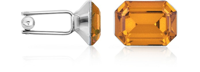 Silver-Plated Crystal Cuff Links - Forzieri