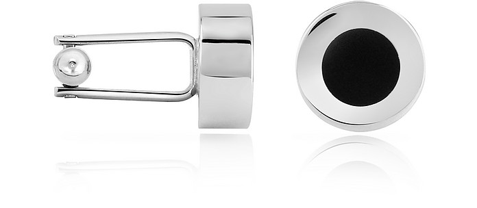Black Enamel Disc Silver Plated Cuff Links - Forzieri