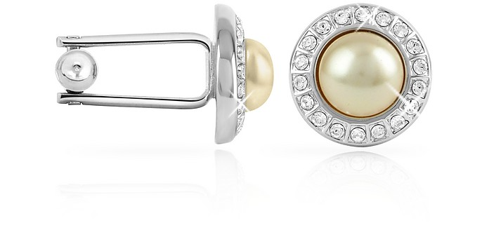 Manschettenknöpfe mit Perlen mit Kristallen umrandet - Forzieri