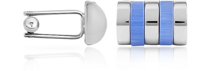 Sky Blue Bands Silver Plated Cuff Links - Forzieri