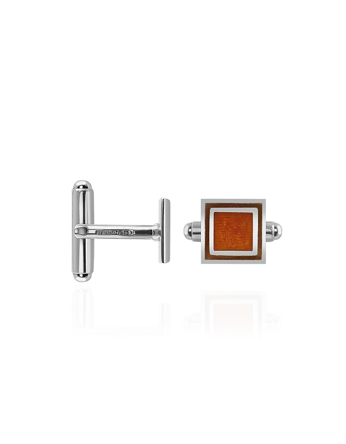 Brown Sterling Silver Square Cuff Links - Forzieri