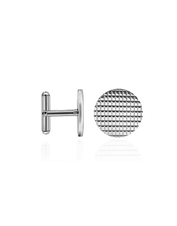 Round Decorated Sterling Silver Cufflinks - Forzieri