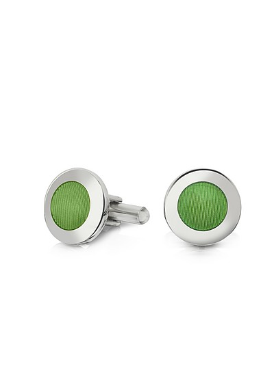 Dandy - Round Striped Enamel Cufflinks - Forzieri