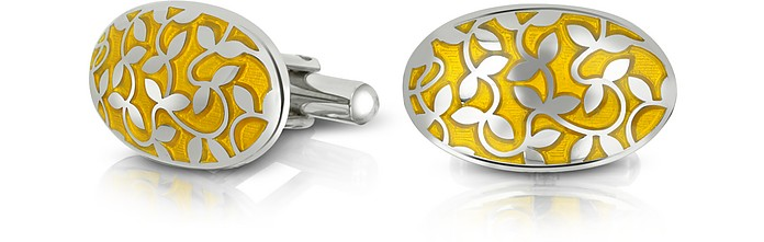 Dandy - Floral Enamel and Metal Oval Cufflinks - Forzieri