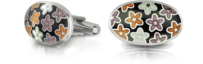 Dandy - Metal and Enamel Oval Cufflinks - Forzieri