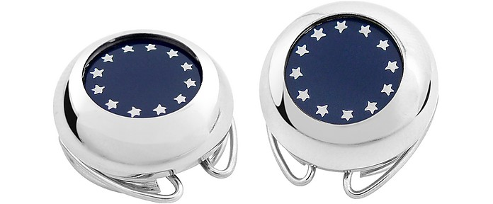Silver Plated European Flag Button Covers  - Forzieri