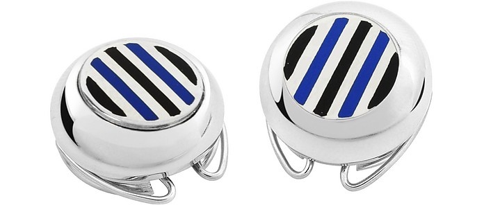 Striped Silver Plated Button Covers - Forzieri