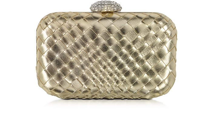 Woven Leather Clutch w/Crystals Closure - Forzieri