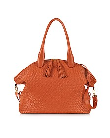 Orange Woven Leather Bowler Bag